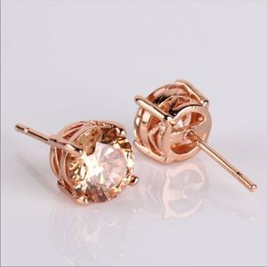 Rose gold earrings studs cute round zirconia gift